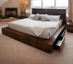 Rustic meets modern in this contemporary platform bed design. Using reclaimed woods & stainless steel give it a unique mdoern rustic character. Need this bed. Rustic Platform Bed, Platform Bed Designs, King Size Platform Bed, Wood Platform Bed, Modern Platform Bed, Japanese Platform Bed, Floating Platform Bed, Floating Bed Frame, Rustic Bedroom Furniture