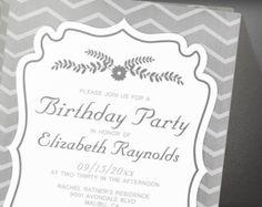 Grey Chevron Stripes Birthday Party Invitation