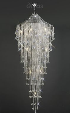 Large crystal waterfall chandelier productos cristales y candelabros a flagship range of fittings that are dressed with large crystal prisms 234000 from aloadofball Gallery