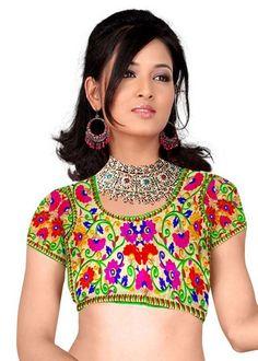 Shreeji Designer Unstiched Multi Color Blouse - Shreeji Designer Saree blouse