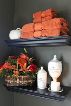 The Yellow Cape Cod: Powder Room Essentials For Your Turkey Day Celebration - Bathrooms , Orange Bathroom Decor, Bathroom Towel Decor, Yellow Bathrooms, Bathroom Ideas, Bathroom Spa, Bathroom Designs, Bathroom Remodeling, Bathroom Faucets, Bathroom Inspiration