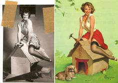 Gil Elvgren's Pin Up Girls and his photo reference #pinupgirl