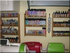 Spice racks make great storage for paint and other small bottles...