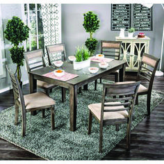 Furniture of America Yevana Contemporary Wooden Dining Set (Grey), Size Sets Dining Room Sets, Black Dining Room Furniture, 7 Piece Dining Set, Outdoor Furniture Sets, Furniture Ads, Grey Furniture, Wooden Furniture, Online Furniture, Wooden Dining Set