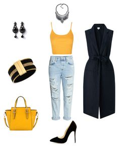 """A bit of yellow"" by vmarel on Polyvore featuring Topshop, EAST, Mellow World and GUESS"