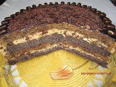 Tort makowy z masą kawową i śliwkami kalifornijskimi - :: www.zapraszamnaciastka.pl :: Polish Recipes, Tiramisu, Food And Drink, Beef, Cookies, Baking, Ethnic Recipes, Deserts, Polish Language
