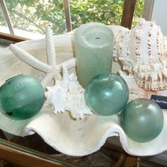 Purchase a foam green authentic sea glass ball for a perfect nautical accent. SKU-ID: Coastal Christmas Decor, Nautical Christmas, Beach Christmas, Coastal Decor, Nautical Porch Decor, Coastal Living, Christmas Tree, Driftwood Coffee Table, Reclaimed Wood Coffee Table
