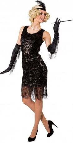 ladies longer length black flapper fancy dress costume dance the new year in in this