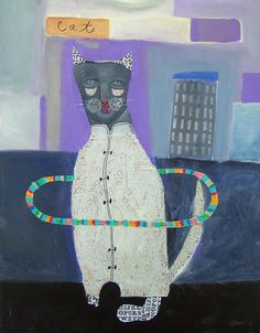 """ New Hula Cat""   24"" x 30"" mixed media on canvas"