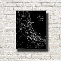 CHICAGO Map 1913 vintage version of an old original map black and white Printable Instant Download  Art  DNGeM001b