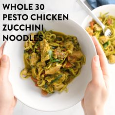 Pesto Chicken Zucchini Noodles are a delicious, simple dinner. Paleo and gluten free, this easy dinner comes together in under 30 minutes! Salad Recipes With Bacon, Bacon Recipes, Lunch Recipes, Healthy Dinner Recipes, Paleo Meals, Whole30 Recipes, Healthy Foods, Healthy Eating, Zucchini Noodles Salad Recipe