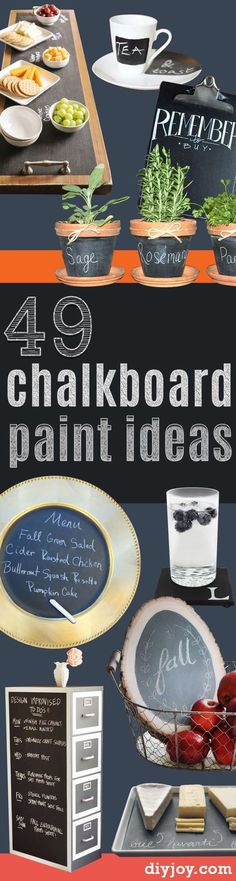 DIY Chalkboard Paint Ideas for Furniture Projects, Home Decor, Kitchen, Bedroom, Signs and Crafts for Teens.    Easy Rustic Home Decor Ideas  http://diyjoy.com/diy-chalkboard-paint-ideas