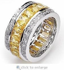 Stuller Two Tone 14K Gold Fancy Canary Diamond Eternity Mens Wedding