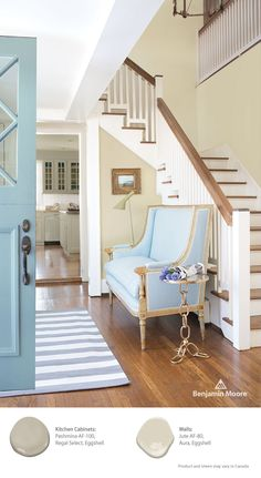 Take the guesswork out of your next paint project. Colors in Benjamin Moore's Affinity collection are designed to create color harmony in any combination. Try Pashmina AF-100 with Jute AF-80 for complimentary neutrals that make a statement. ~ I love this blue couch
