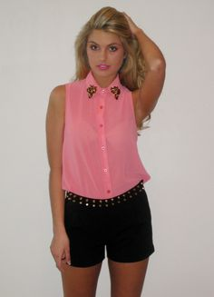 Coral Leopard Jeweled Collar Top with Black Stud Shorts