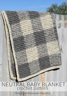 This Neutral Crochet Baby Blanket Pattern is perfect for a baby boy or girl! It uses two strands of worsted weight yarn and an mm hook, so it works up fairly quick. Neutral Baby Blanket Pattern The Yarn that Binds Us yarnthatbindsus Crochet Baby Girl Crochet Blanket, Crochet Baby Blanket Beginner, Crochet Blanket Patterns, Baby Patterns, Crochet Afghans, Afghan Patterns, Crochet Blankets, Neutral Baby Blankets, Baby Girl Blankets