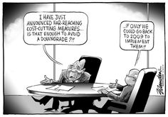 20160216bdRatings - Are Zuma's austerity measures achievable? Brandan (and Gordhan) express their doubts in this cartoon