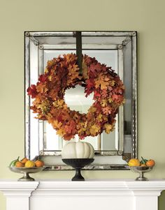 Love all the wreath over mirror inspiration. Autumn wreath hung over mirror
