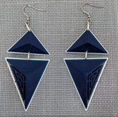 3D Printed Geo Bold Triangle Earrings,Dark Blue Navy and White PLA and Silver Links, Lightweight Bold Design by FISH3Ddesigns on Etsy