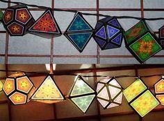 Tektonten Papercraft - Free Papercraft, Paper Models and Paper Toys: Platonic Solid Lanterns Papercraft Origami, Tissue Paper Lanterns, 3d Templates, Paper Art, Paper Crafts, Fractal Images, Platonic Solid, Math Art, Paper Ornaments