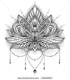 2017 trend Geometric Tattoo - lotus flower mandala design                                                     ...