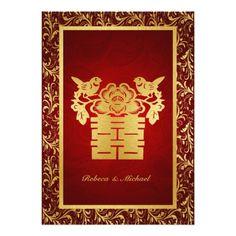 "Chinese Double Happiness Wedding Invitation 5"" X 7"" Invitation Card"