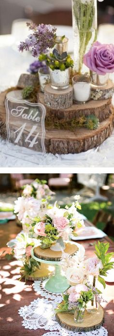 Display flowers, candles and table numbers on a DIY tree stump trivet