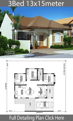 Home design plan with 3 bedrooms.House description:One Car Parking and gardenGround Level: Living room, 3 Bedrooms, Dining room, Kitchen Kerala House Design, Small House Design, Modern House Design, Home Plan Drawing, Pergola Cost, Cheap Pergola, Pergola Ideas, Three Bedroom House Plan, Modern Bungalow House