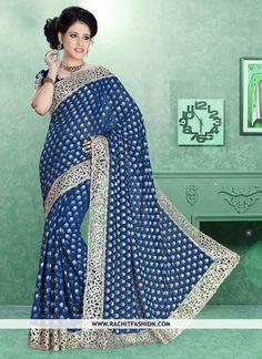 Shop Mindblowing Viscos Designer Saree In Nevi Blue Colour at #rachitfashion  #neviblue #nevi #viscos #designerfashion #fashion #shopping #outfit