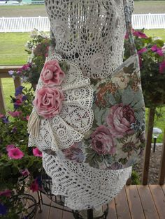Shabby Chic Rose Tapestry Handbag Purse with Doilies and Roses