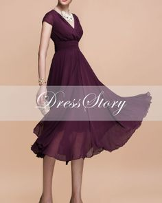 Purple Chiffon Midi Dress  V Neck Long Chiffon Dress by DressStor