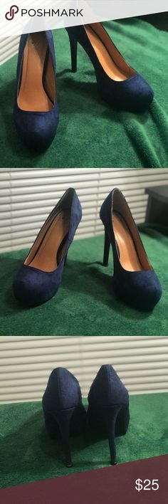 Suede Blue Stiletto Heels 👠 These classy blue heels were worn a few times but are in great condition‼️‼️The only flaw is the bottom of the heel shows a little wear, which is shown above. But overall these heels are hot, sexy and very wearable. 🔥🤘🏾These heels will definitely turn heads so purchase them and I promise you'll love them.🌟🤣💫 Shoes Heels