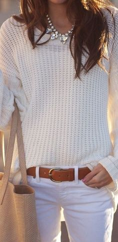 FALL WHITES! GET THE LOOK: white knit sweater white skinny jeans cognacbelt jeweled statement necklace tan shopper