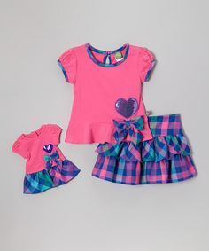 Pink Plaid Ruffle Skirt Set & Doll Outfit - Toddler & Girls | zulily