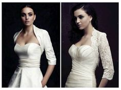 On-trend bridal boleros by Paloma Blanca to add sleeves to your strapless wedding dress. I really like the dress on the right side