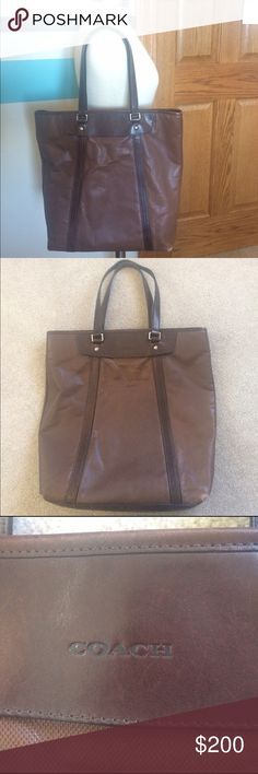 Coach Brown Leather Tote Coach Brown Leather Tote  15 1/2 x 16 1/2 x 3 inches Nice large size, fits books, notebooks, laptop perfect for school or work.  Brown color Has some wear on edges & bottom (see pictures) Handles have a little bit of Wear  Zip top Inside: 1 Zipper Pocket, 2 pouches Inside is in very good condition  Number is M1120-70652  Please ask any questions  Open To Offers No Trades Ask About Bundle Discounts Coach Bags Totes
