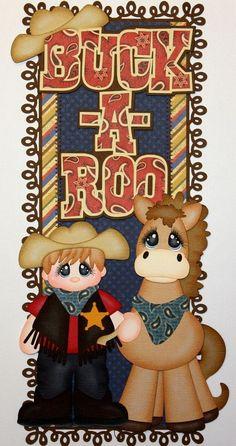 """Buck-a-Roo"" vertical border ~ DT Julie   ELITE4U PMBY JULIE border 4 PREMADE scrapbook pages album paper piecing"