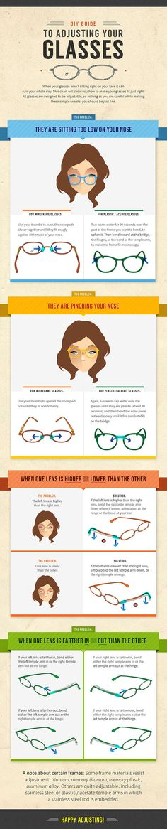 DIY Guide to Adjusting Your Glasses  [by Zenni Optical® -- via #tipsographic]. More at tipsographic.com