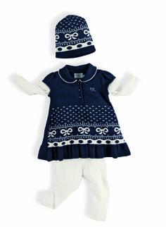 Conjunto tunica em jaquard azul com calça tricot branca e gorro em jaquard Menina