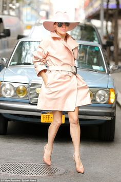 Big night: Lady Gaga was pretty in pink as she headed to the NBC studios in New York to perform on Saturday Night Live