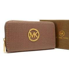 Michael Kors Perforated Logo Large Brown Wallet