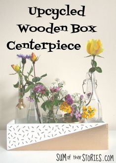 upcycled wooden box centrepiece