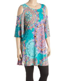This Orange & Purple Abstract Cutout Tunic - Plus is perfect! #zulilyfinds