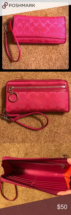 Pink Coach Wallet/Clutch Bright pink Coach wallet (with handle to use as clutch)! Lightly used, no wear & tear. Subtle Coach brand print. Coach Bags Wallets