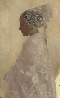 .Gaston La Tour. A Maiden In Contemplation. Oil on Canvas, 1893