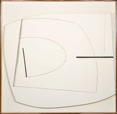 Linear Motif in Black and White, 1959-1960  Oil on plywood and strawboard