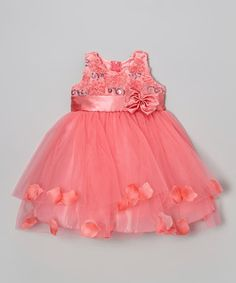 Look what I found on #zulily! Coral Sequin Petal A-Line Dress - Toddler by Shanil #zulilyfinds