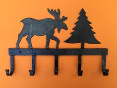 Key hanger in the shape of elk and tree made with wrought iron approx. Tribal Women, Chf, Sale Banner, Cool Artwork, Wrought Iron, Style Fashion, Hanger, Moose Art, Shapes