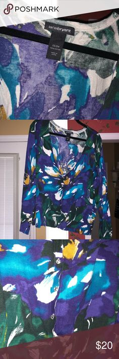 d0a8da187e8e3 Jewel tone light weight sweater Lane Bryant Jewel tone light weight  sweater- purple, gold, green and blue Size fits more like Lane Bryant  Sweaters Cardigans