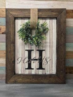 Custom Last Name Sign - Personalized sign with wreath - Last Name wreath sign - . - Custom Last Name Sign – Personalized sign with wreath – Last Name wreath sign – By DIY Home D - Farmhouse Wall Decor, Rustic Decor, Modern Farmhouse, Country Chic Decor, Rustic Wood, Wooden Decor, Modern Country, Diy Wood, Country Style